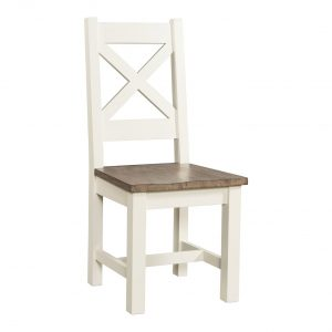 54-18 Cross back chair with wood seat