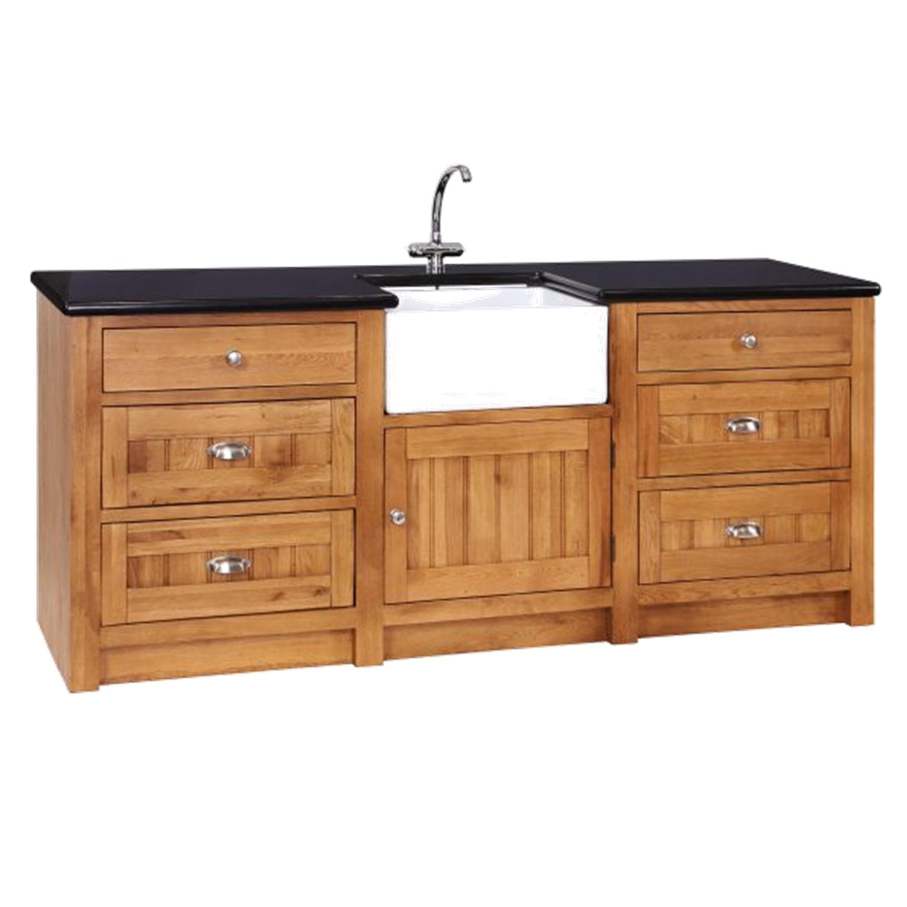 Oak Sink Unit 1 Door & 6 Drawers