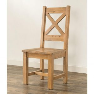 Harlow - Cross Back Oak Chair with Wood Seat