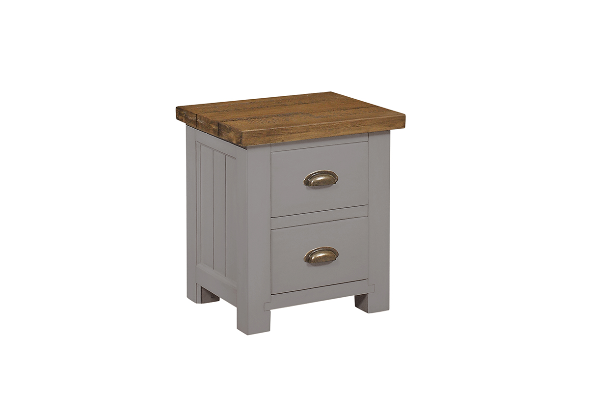 Charlton Grey 2 Drawer Bedside