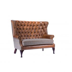Leather and tartan sofa