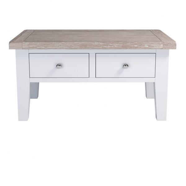 Chalked Oak Coffee Table With Drawers Charnleys