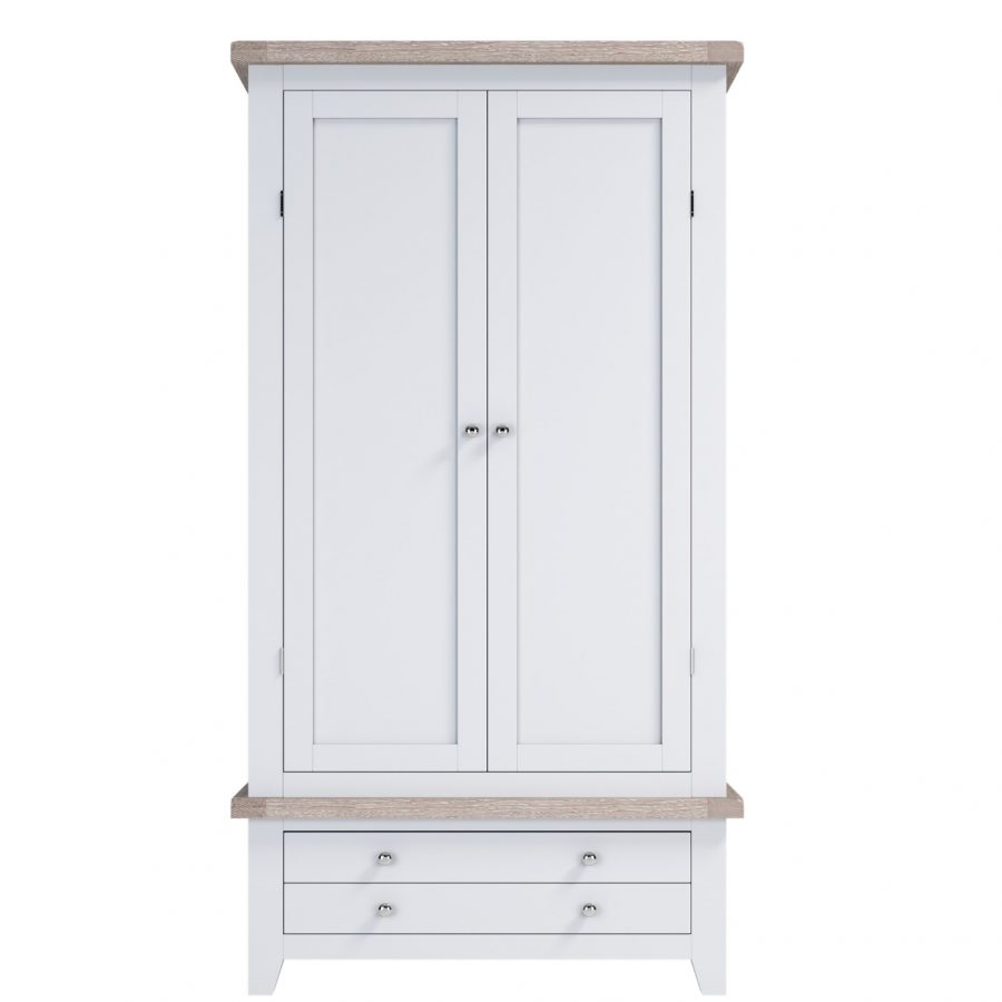 Chalked Oak Wardrobe with Drawers