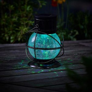 solar rainbow roatating crackle glass lantern 1