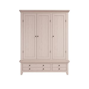 Smoked Oak Triple Wardrobe with Drawers
