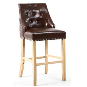 Camberwell Brown Leather Bar Chair