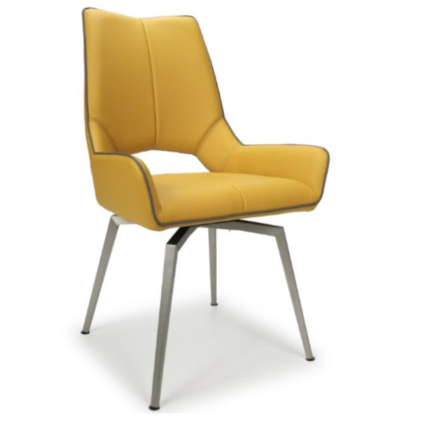 Madallion Leather Swivel Chair