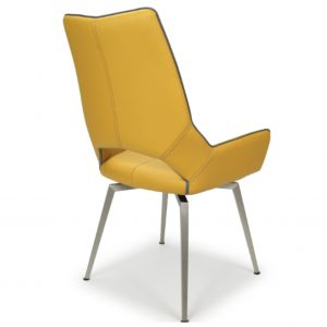 Yellow leather swivel chair