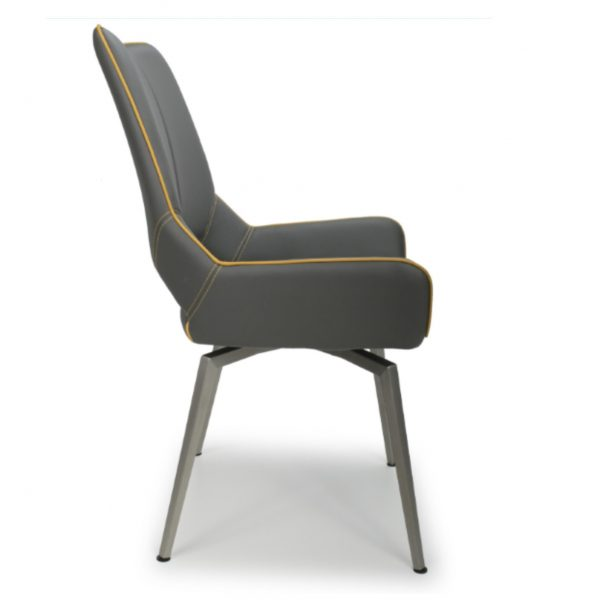 leather swivel chair grey