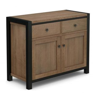 Oak Sideboard wIth Black Metal Frame