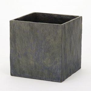 Slate Cube Planter Dark Grey