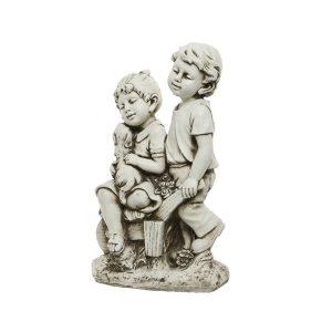 Children with Dog Statue