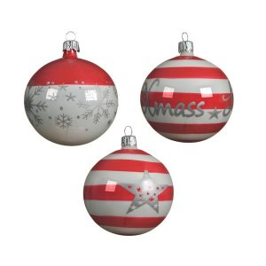Red and White Striped bauble