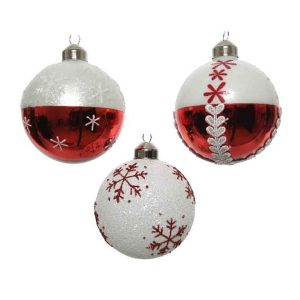 Baubles with Snowflake Pattern (Assorted)