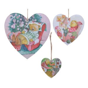 Heart Baubles with Christmas Print