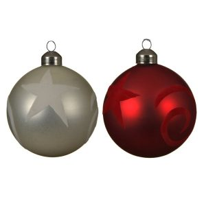 Assorted Bauble with Flock Patterns