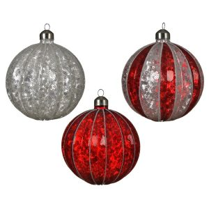 Assorted Baubles with Glitter Stripes