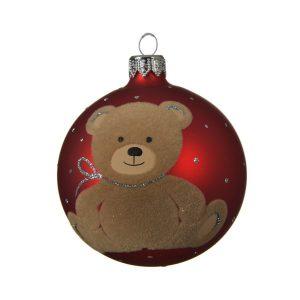 Teddy Bear Red Bauble