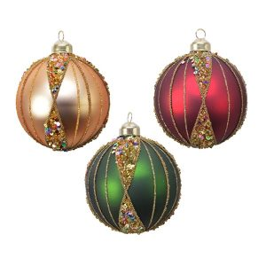 Assorted Baubles with Sequin Stripes